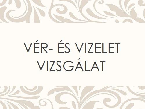 VÉR- ÉS VIZELETVIZSGÁLAT